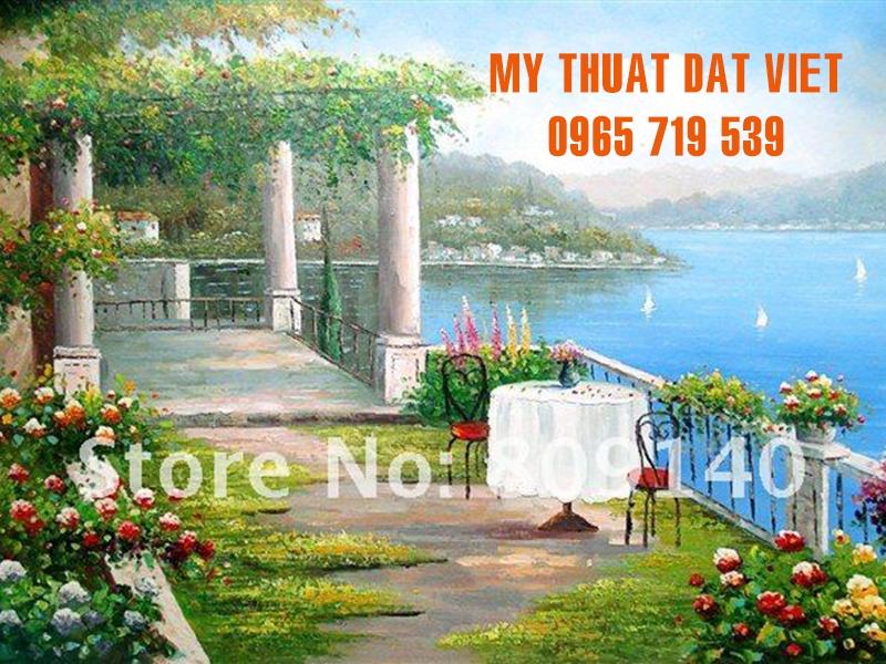 Mẫu - vẽ tranh tường phong cảnh Phương  Tây - phòng khách 08