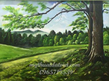 Vẽ tranh tường phong cảnh Phòng Khách - định công, hoàng mai, hà nội