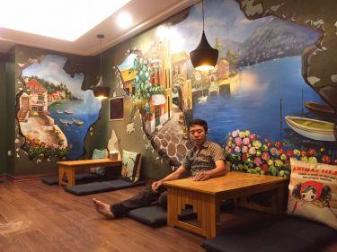 VẼ TRANH TƯỜNG 3D QUÁN CAFE LYLAGUA 44 NGÃ TƯ SỞ