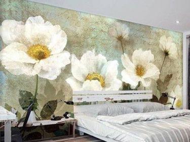 mẫu tranh hoa vẽ tường phòng ngủ 01