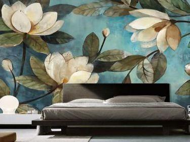mẫu tranh hoa vẽ tường phòng ngủ 02