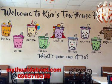 mẫu vẽ tranh tường quán trà sữa 04