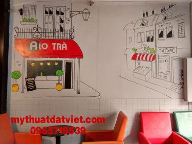 mẫu vẽ tranh tường quán trà sữa 12