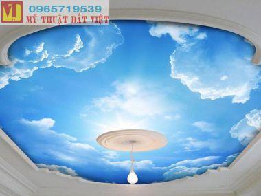 Vẽ trần mây đẹp gia rẻ
