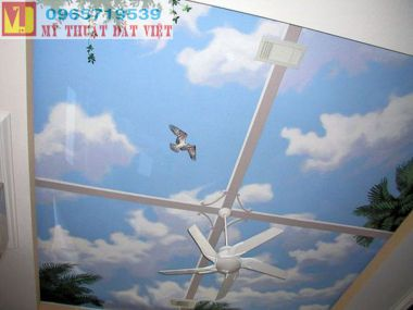 Vẽ trần mây Hà Nội giá rẻ 06