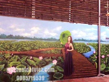 vẽ tranh tường 3d nhà hàng - Long Biên