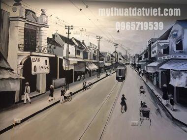 VẼ TRANH TƯỜNG PHỐ CỔ HÀ NỘI TẠI CAFE LYLAGUA 02 - 44 NGÃ TƯ SỞ