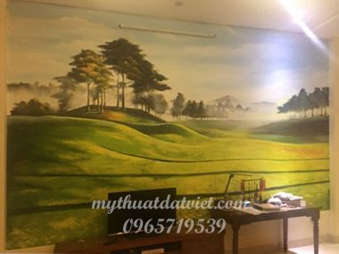 Vẽ tranh tường phòng khách - 83 Bồ Đề - Long Biên
