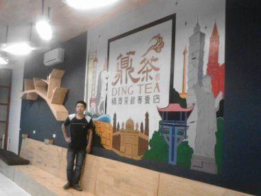 Vẽ tranh tường quán trà sữa DingTea TP Vinh-Nghệ An