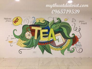 Vẽ tranh tường quán trà sữa tại Số 20 Hai Bà Trưng, Hà Nội
