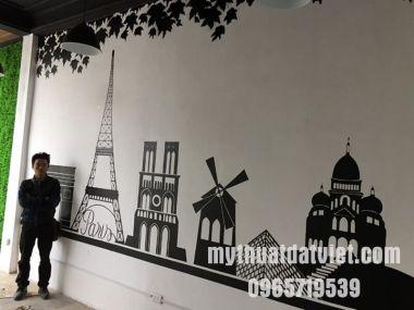 Vẽ tranh tường quán trà sữa tại Ngã Tư Sở, Hà Nội