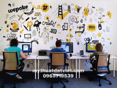 Vẽ tranh tường văn phòng công ty 17